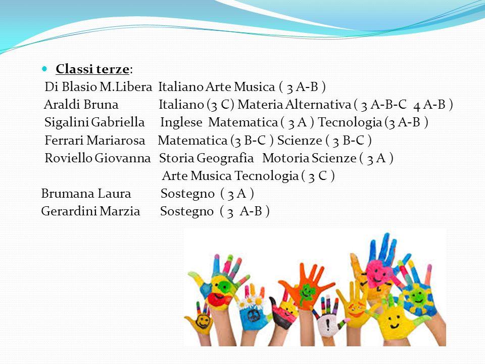 Classi terze: Di Blasio M.Libera Italiano Arte Musica ( 3 A-B ) Araldi Bruna Italiano (3 C) Materia Alternativa ( 3 A-B-C 4 A-B ) Sigalini Gabriella I