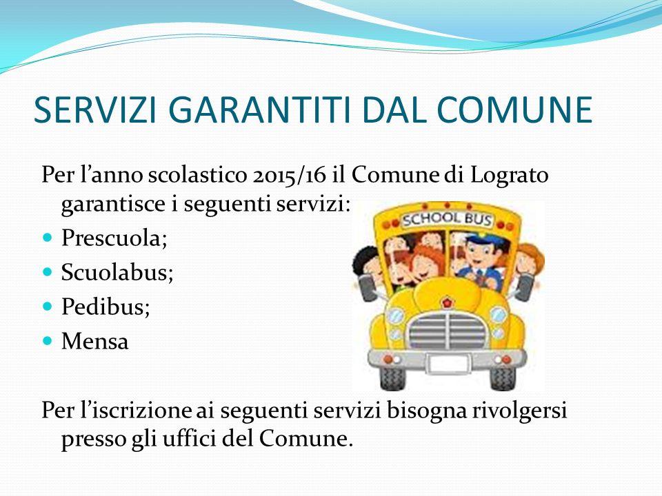 SERVIZI GARANTITI DAL COMUNE Per l'anno scolastico 2015/16 il Comune di Lograto garantisce i seguenti servizi: Prescuola; Scuolabus; Pedibus; Mensa Pe