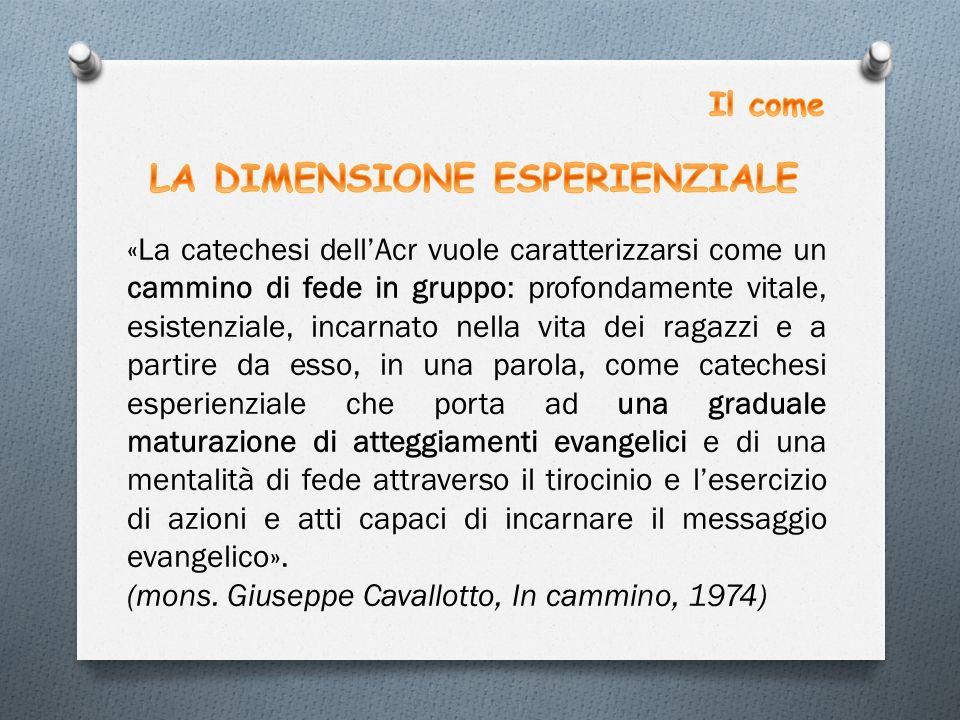 «La catechesi dell'Acr vuole caratterizzarsi come un cammino di fede in gruppo: profondamente vitale, esistenziale, incarnato nella vita dei ragazzi e