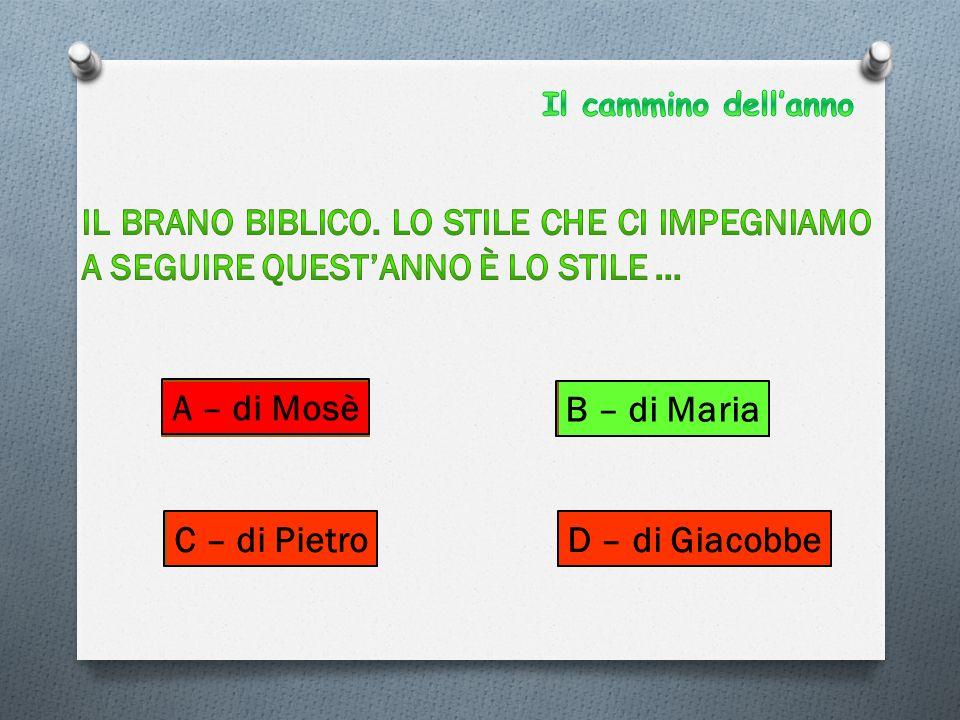 A – di Mosè B – di Maria C – di PietroD – di Giacobbe