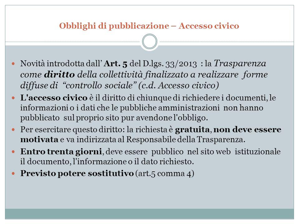 Obblighi di pubblicazione – Accesso civico Novità introdotta dall' Art.