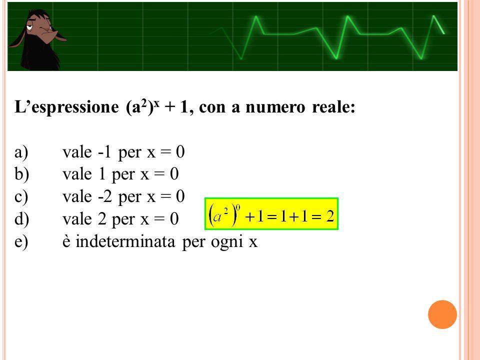 L'espressione (a 2 ) x + 1, con a numero reale: a)vale -1 per x = 0 b)vale 1 per x = 0 c)vale -2 per x = 0 d)vale 2 per x = 0 e)è indeterminata per og