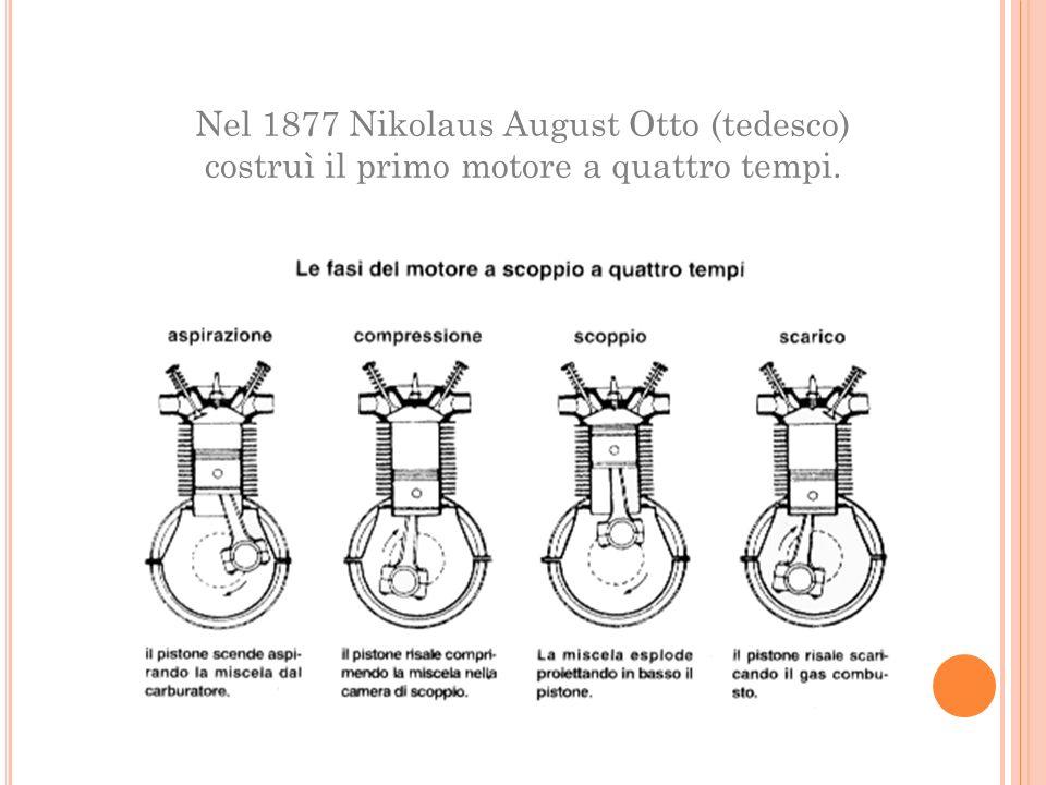 Nel 1877 Nikolaus August Otto (tedesco) costruì il primo motore a quattro tempi.