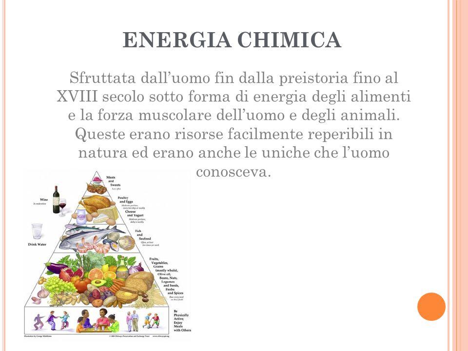 ENERGIA CHIMICA Sfruttata dall'uomo fin dalla preistoria fino al XVIII secolo sotto forma di energia degli alimenti e la forza muscolare dell'uomo e degli animali.