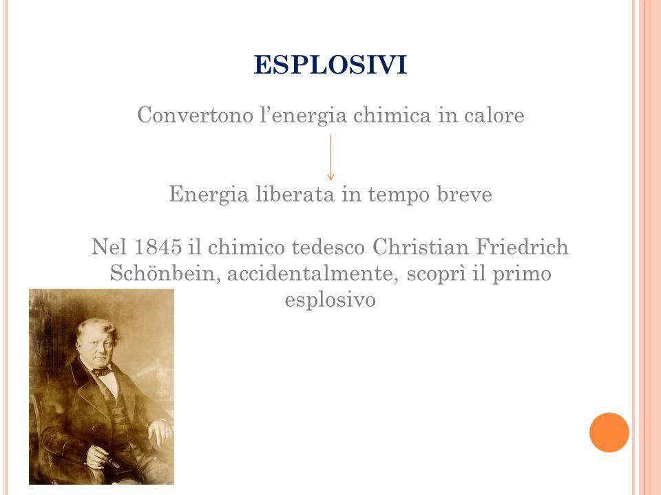 ESPLOSIVI Convertono l'energia chimica in calore Energia liberata in tempo breve Nel 1845 il chimico tedesco Christian Friedrich Schönbein, accidentalmente, scoprì il primo esplosivo