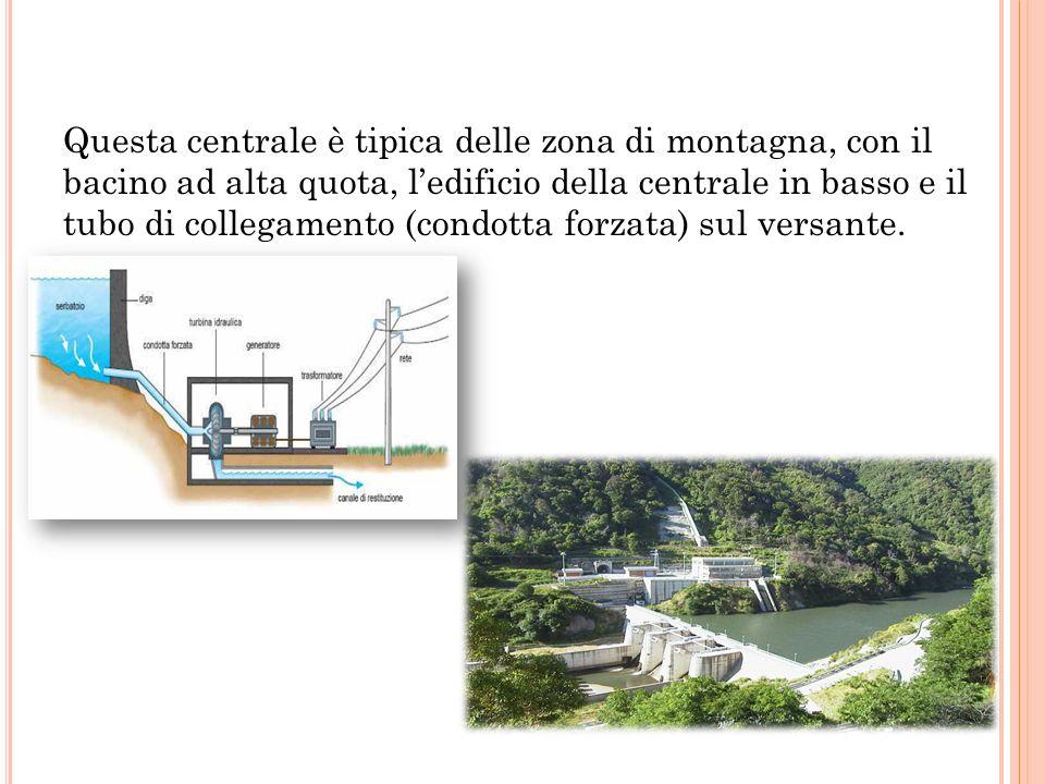 Questa centrale è tipica delle zona di montagna, con il bacino ad alta quota, l'edificio della centrale in basso e il tubo di collegamento (condotta f