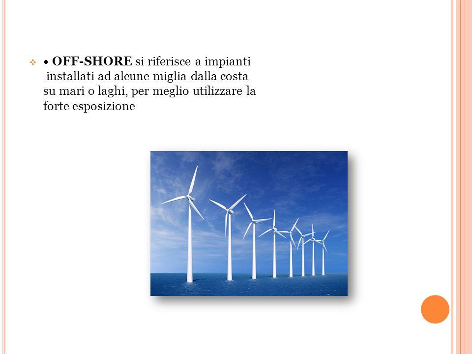  OFF-SHORE si riferisce a impianti installati ad alcune miglia dalla costa su mari o laghi, per meglio utilizzare la forte esposizione