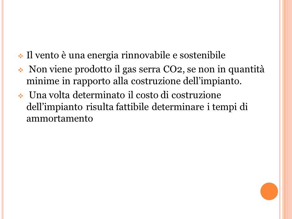  Il vento è una energia rinnovabile e sostenibile  Non viene prodotto il gas serra CO2, se non in quantità minime in rapporto alla costruzione dell'impianto.
