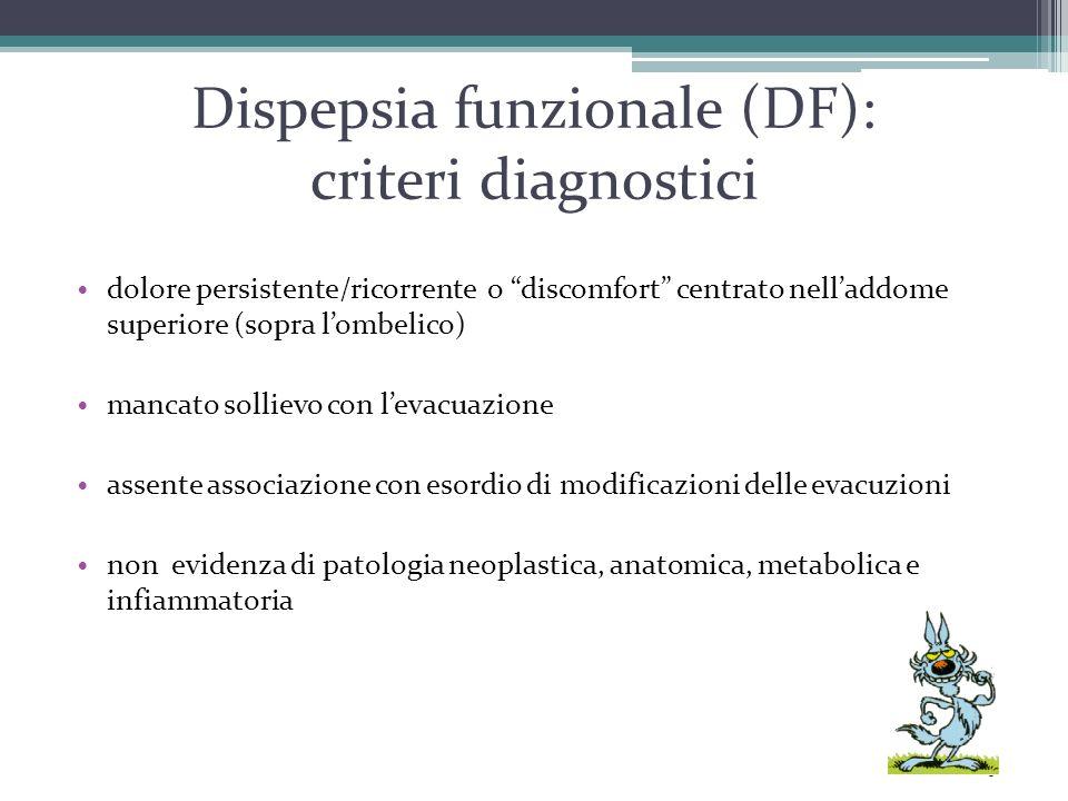 """Dispepsia funzionale (DF): criteri diagnostici dolore persistente/ricorrente o """"discomfort"""" centrato nell'addome superiore (sopra l'ombelico) mancato"""