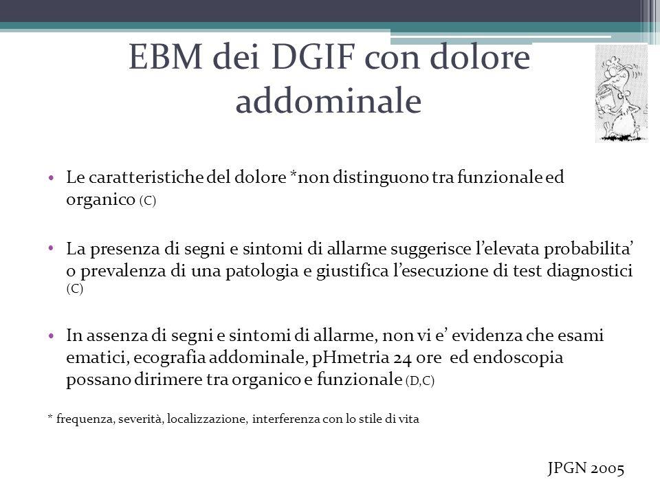 EBM dei DGIF con dolore addominale Le caratteristiche del dolore *non distinguono tra funzionale ed organico (C) La presenza di segni e sintomi di all
