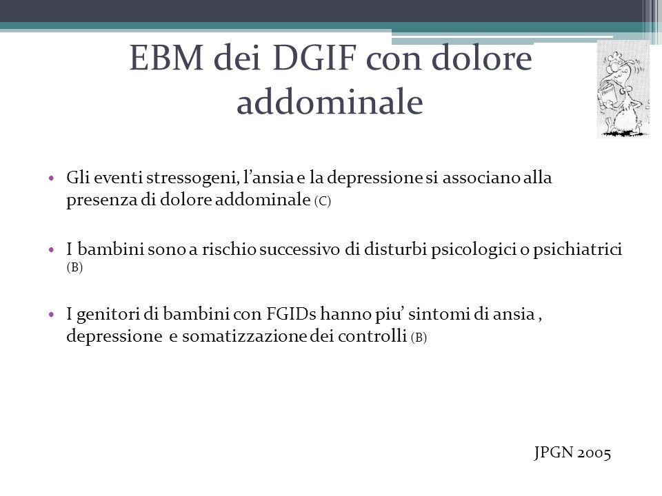 EBM dei DGIF con dolore addominale Gli eventi stressogeni, l'ansia e la depressione si associano alla presenza di dolore addominale (C) I bambini sono
