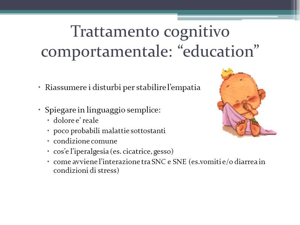 """Trattamento cognitivo comportamentale: """"education""""  Riassumere i disturbi per stabilire l'empatia  Spiegare in linguaggio semplice:  dolore e' real"""