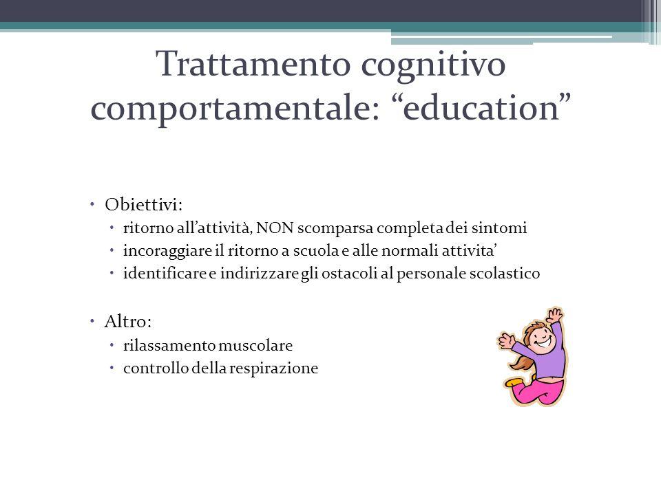 """Trattamento cognitivo comportamentale: """"education""""  Obiettivi:  ritorno all'attività, NON scomparsa completa dei sintomi  incoraggiare il ritorno a"""
