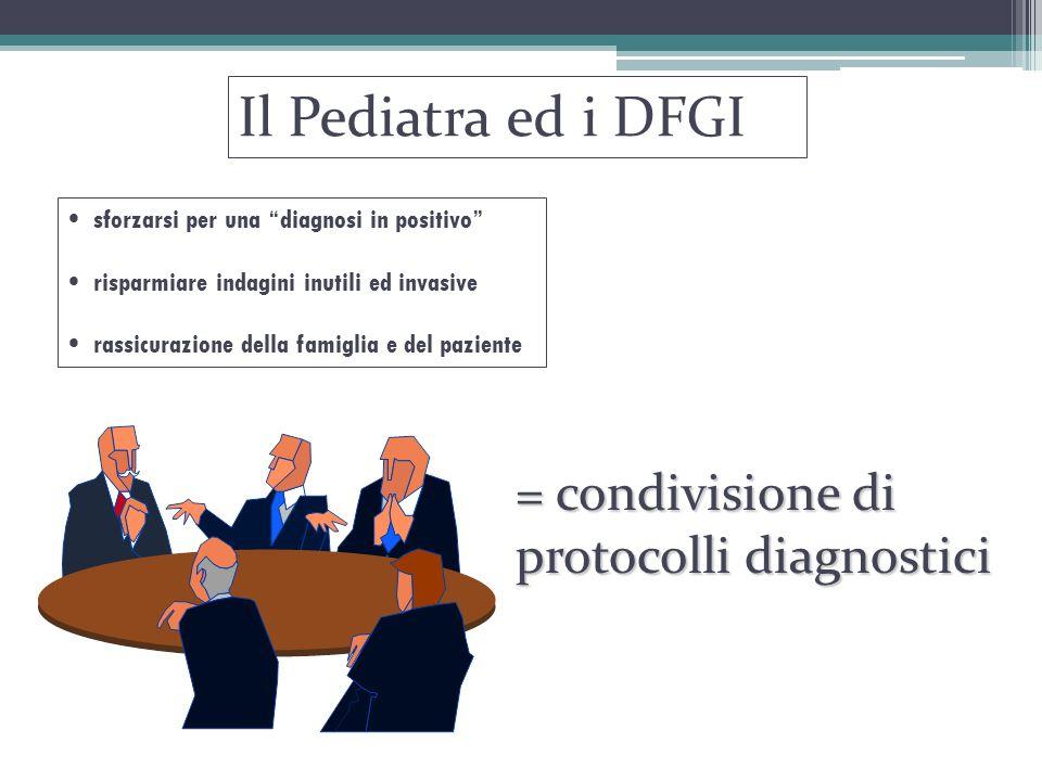 """Il Pediatra ed i DFGI sforzarsi per una """"diagnosi in positivo"""" risparmiare indagini inutili ed invasive rassicurazione della famiglia e del paziente ="""