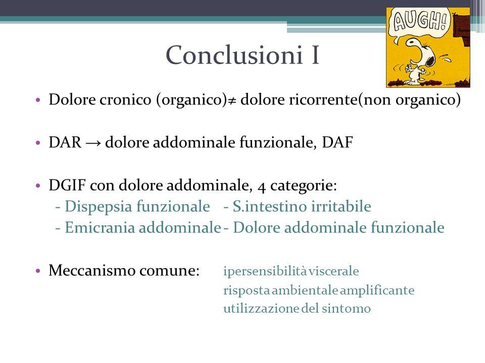Conclusioni I Dolore cronico (organico)≠ dolore ricorrente(non organico) DAR → dolore addominale funzionale, DAF DGIF con dolore addominale, 4 categor