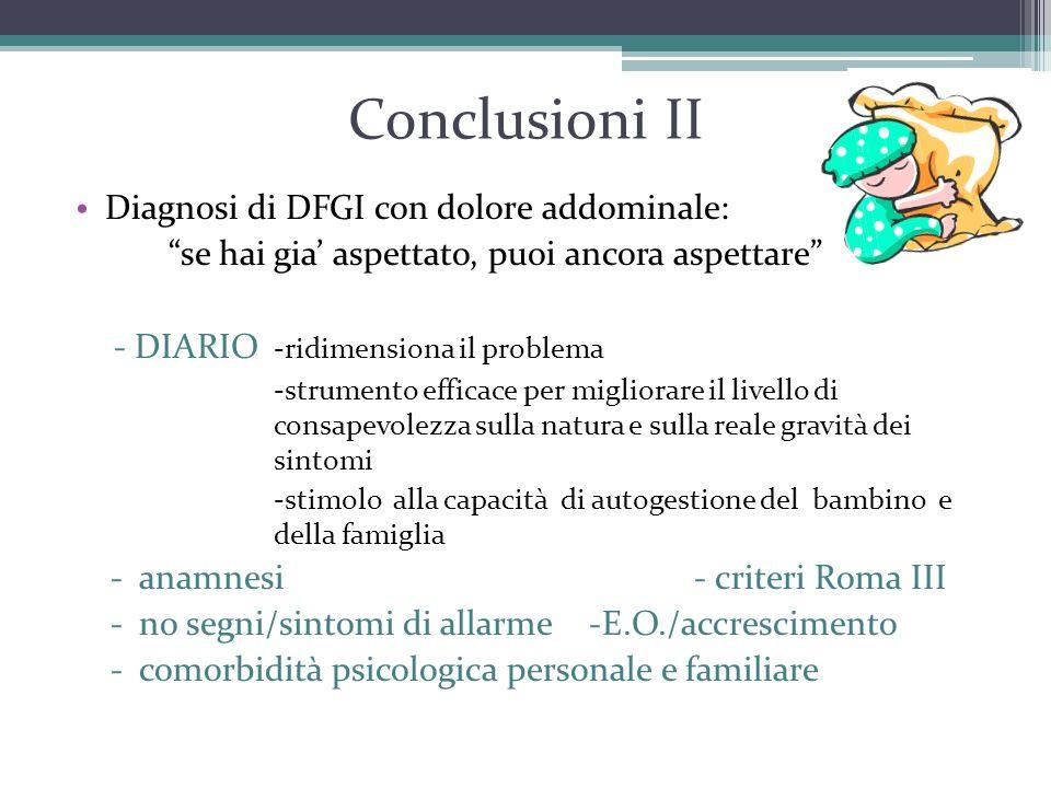 """Conclusioni II Diagnosi di DFGI con dolore addominale: """"se hai gia' aspettato, puoi ancora aspettare"""" - DIARIO -ridimensiona il problema -strumento ef"""
