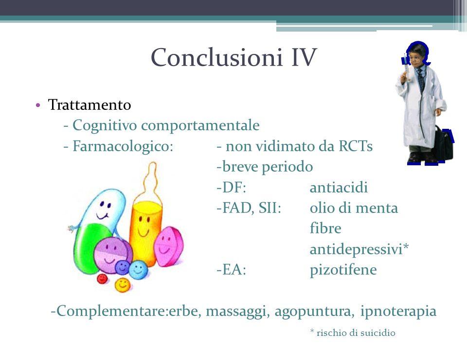 Conclusioni IV Trattamento - Cognitivo comportamentale - Farmacologico: - non vidimato da RCTs -breve periodo -DF: antiacidi -FAD, SII:olio di menta f