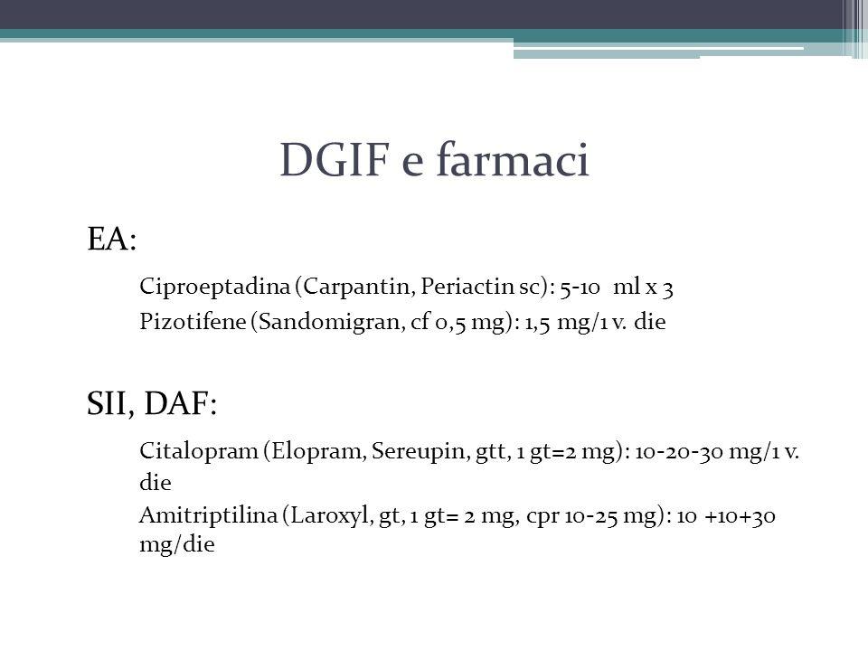 DGIF e farmaci EA: Ciproeptadina (Carpantin, Periactin sc): 5-10 ml x 3 Pizotifene (Sandomigran, cf 0,5 mg): 1,5 mg/1 v. die SII, DAF: Citalopram (Elo