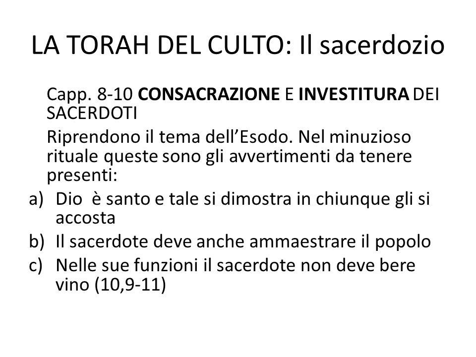 LA TORAH DEL CULTO: Il sacerdozio Capp.