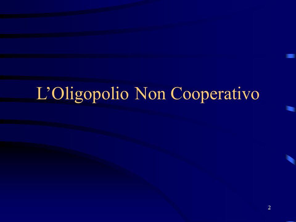 3 Premessa Nel monopolio e in concorrenza le azioni intraprese dalle singole imprese non determinano effetti sul comportamento delle imprese concorrenti.