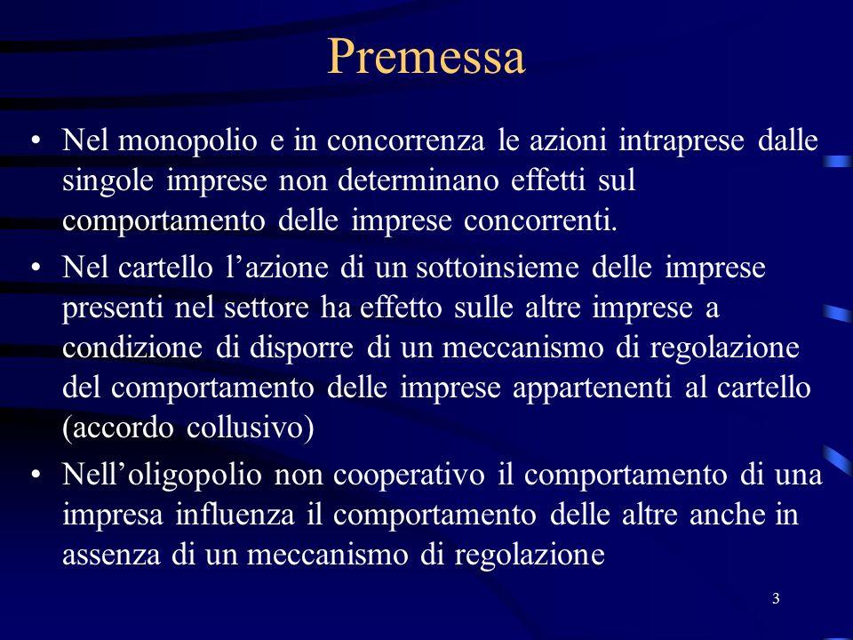 4 Quesiti di base In oligopolio, quali sono i comportamenti che consentono alle imprese di massimizzare il profitto.