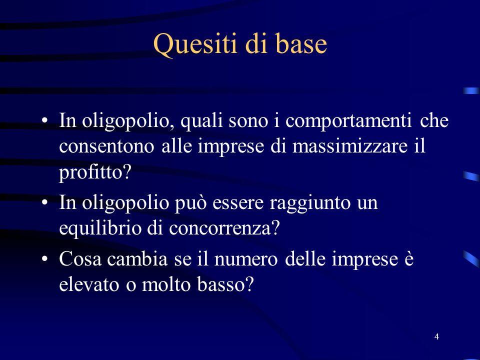 55 Equilibrio di Cournot Il punto di intersezione delle funzioni di risposta ottimale è un equilibrio perché ambedue le imprese, data la strategia dell'altra, non possono attuare nessuna scelta che incrementi ulteriormente il loro profitto (equilibrio di Nash)