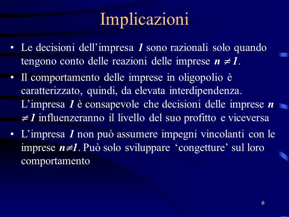 87 Conclusioni del modello di Bertrand Se le decisioni riguardano i prezzi e non le quantità: 1) Nessuna impresa potrà definire prezzi superiori a quelli definiti dai concorrenti; 2) Avrà incentivi ad abbassare i prezzi per assorbire la totalità della domanda; 3) La riduzione dei prezzi si interromperà quando P=MC; 4) P=MC è un equilibrio di Nash 5) Il grado di concorrenza nel settore non è funzione del numero delle imprese: sono sufficienti due imprese per raggiungere l'equilibrio concorrenziale