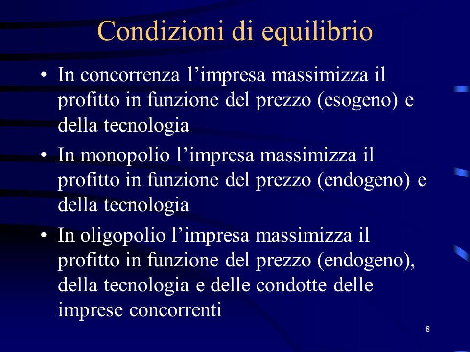 9 Equilibrio di Nash L'impresa oligopolista massimizza il profitto in equilibrio di Nash Un equilibrio si definisce di Nash quando, mantenendo costanti le strategie delle altre imprese, nessuna impresa è in grado di ottenere un profitto maggiore scegliendo una strategia diversa