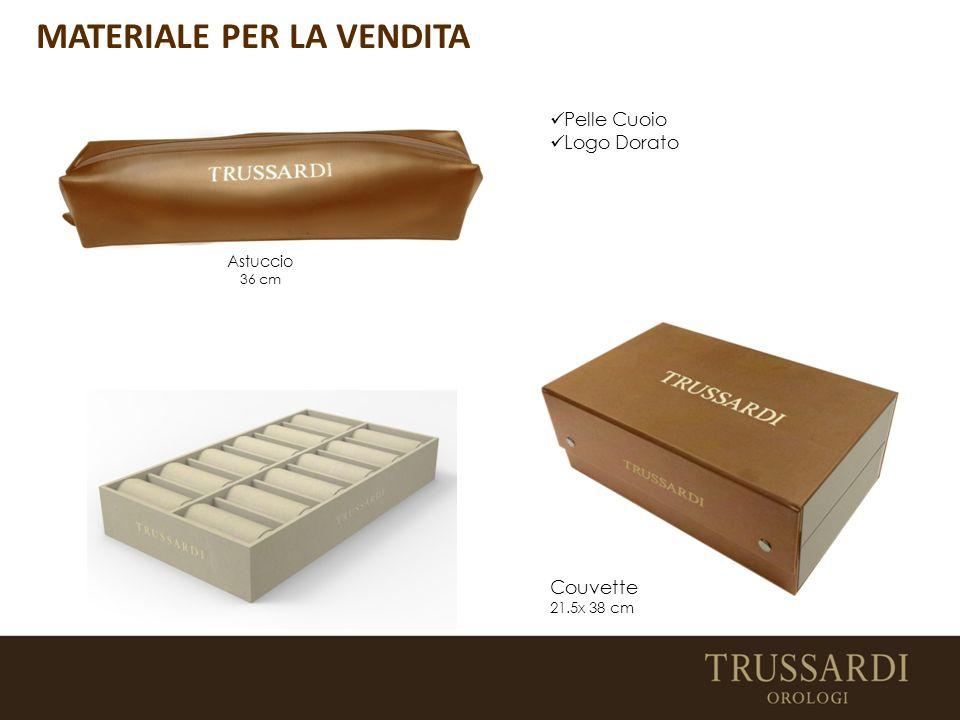 Pelle Cuoio Logo Dorato Astuccio 36 cm Couvette 21.5x 38 cm MATERIALE PER LA VENDITA