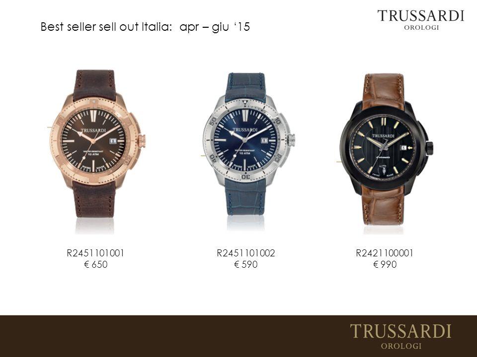 Best seller sell out Italia: apr – giu '15 R2421100001 € 990 R2451101002 € 590 R2451101001 € 650