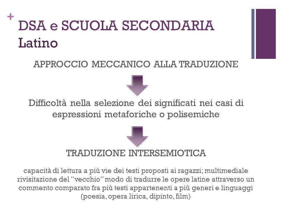 + DSA e SCUOLA SECONDARIA Latino APPROCCIO MECCANICO ALLA TRADUZIONE Difficoltà nella selezione dei significati nei casi di espressioni metaforiche o