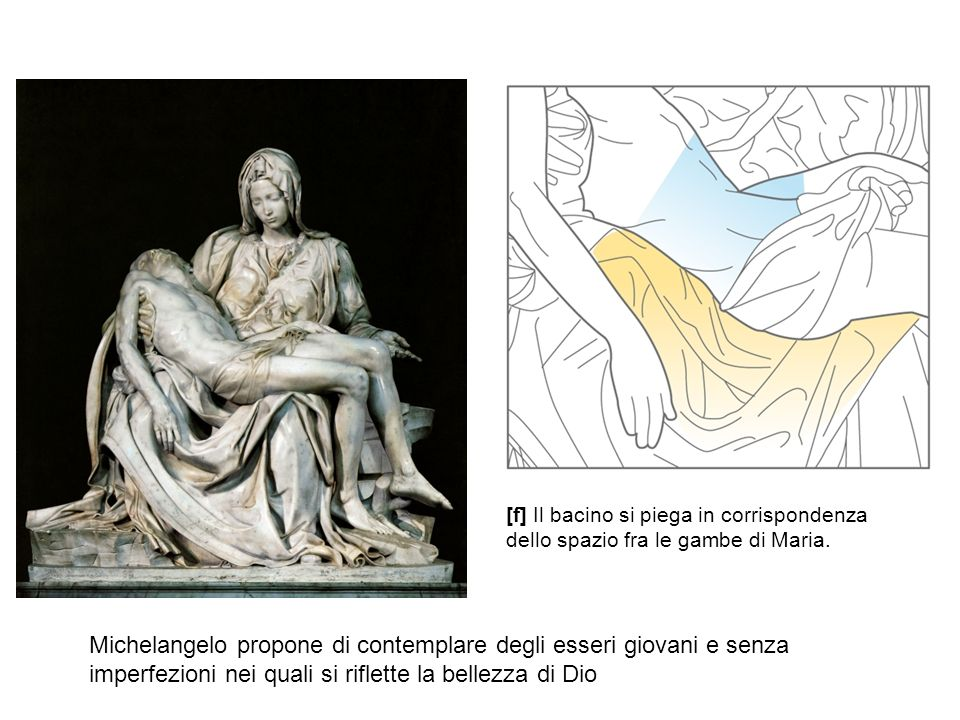 [f] Il bacino si piega in corrispondenza dello spazio fra le gambe di Maria. Michelangelo propone di contemplare degli esseri giovani e senza imperfez