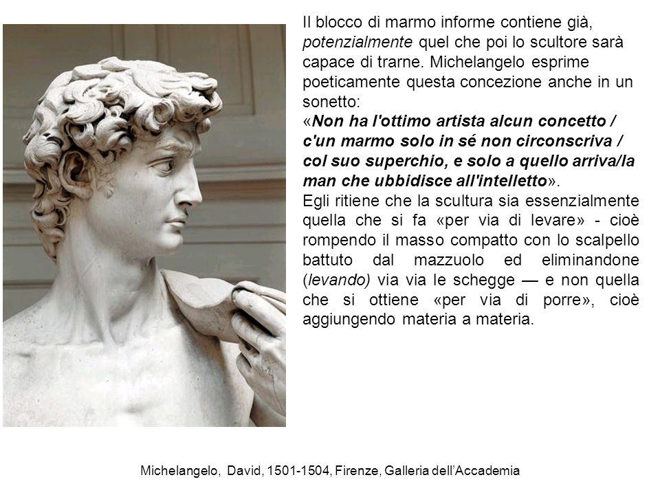 Michelangelo, David, 1501-1504, Firenze, Galleria dell'Accademia Il blocco di marmo informe contiene già, potenzialmente quel che poi lo scultore sarà