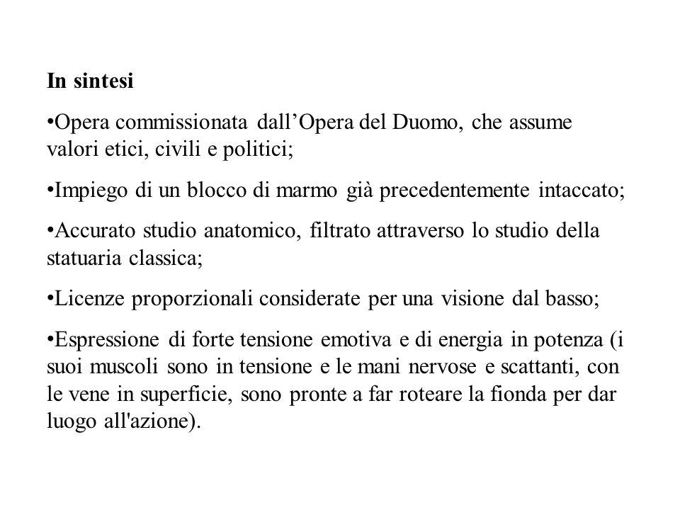 In sintesi Opera commissionata dall'Opera del Duomo, che assume valori etici, civili e politici; Impiego di un blocco di marmo già precedentemente int