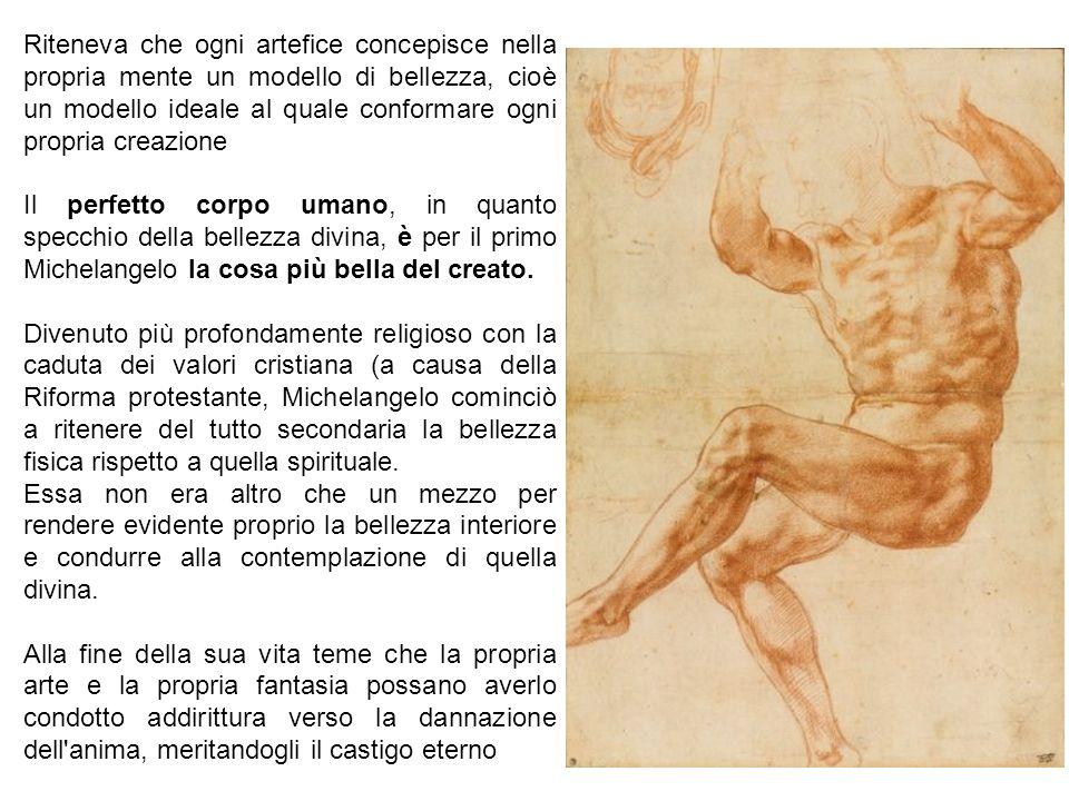 Michelangelo non cerca più la bellezza ideale ma lo interessa il senso tragico del destino dell'uomo: I corpi sono tozzi e pesanti.
