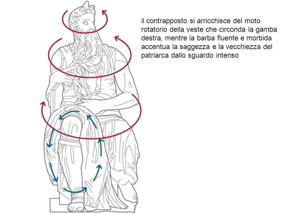 il contrapposto si arricchisce del moto rotatorio della veste che circonda la gamba destra, mentre la barba fluente e morbida accentua la saggezza e l