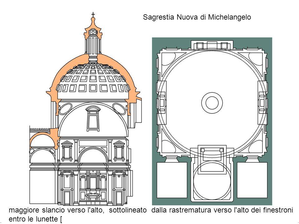 Sagrestia Nuova di Michelangelo maggiore slancio verso l'alto, sottolineato dalla rastrematura verso l'alto dei finestroni entro le lunette [