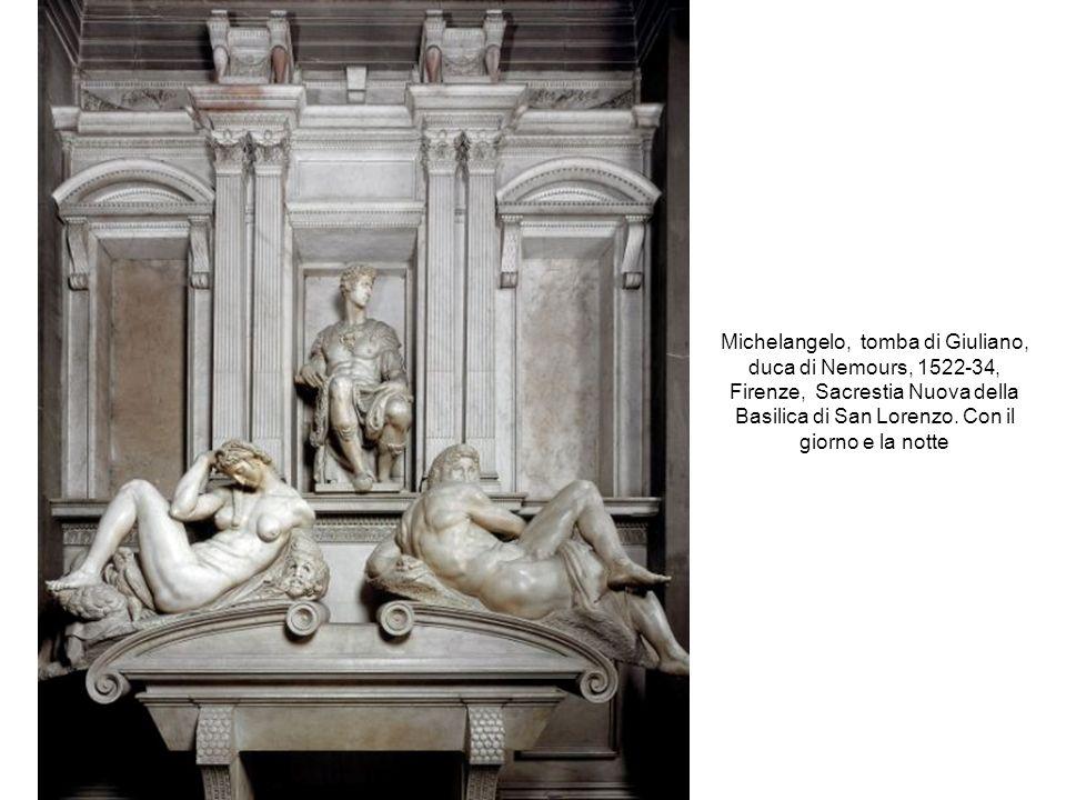 Michelangelo, tomba di Giuliano, duca di Nemours, 1522-34, Firenze, Sacrestia Nuova della Basilica di San Lorenzo. Con il giorno e la notte