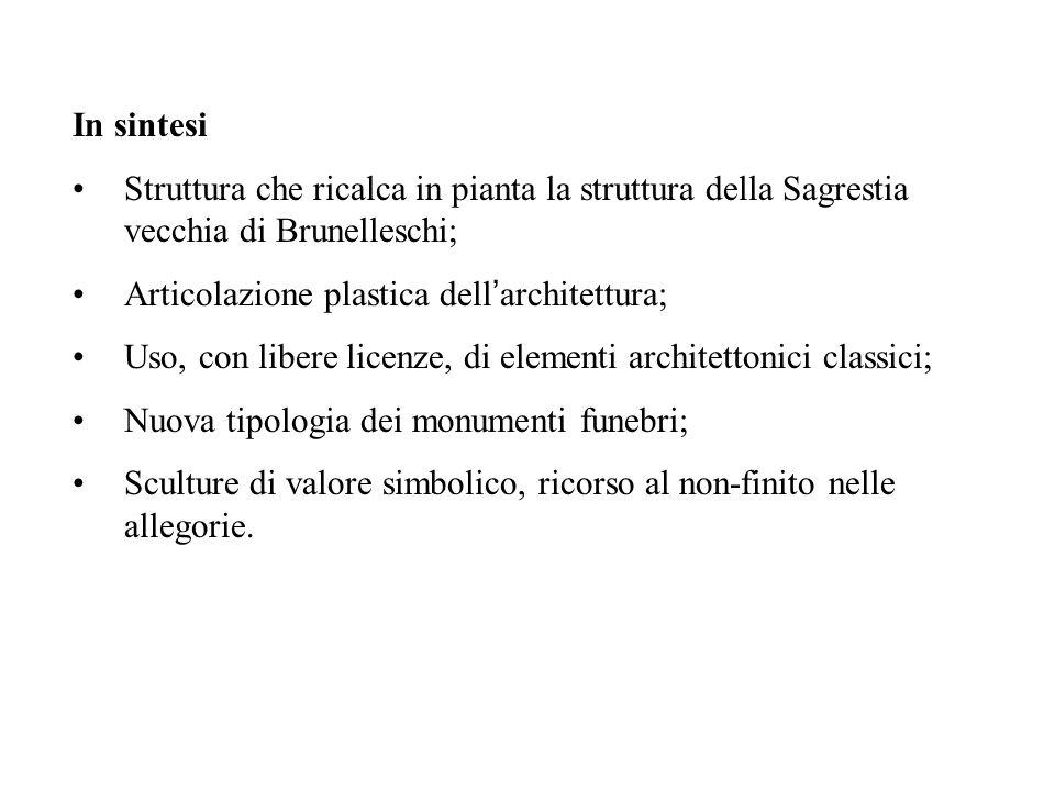 In sintesi Struttura che ricalca in pianta la struttura della Sagrestia vecchia di Brunelleschi; Articolazione plastica dell ' architettura; Uso, con