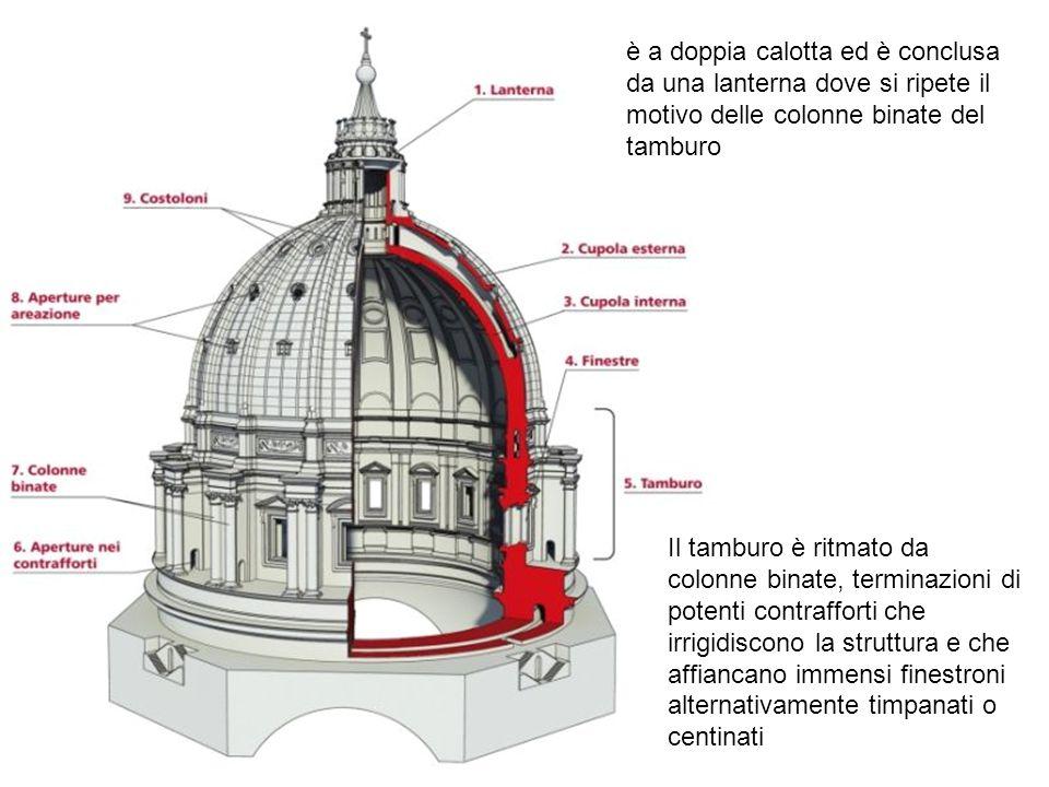 Il tamburo è ritmato da colonne binate, terminazioni di potenti contrafforti che irrigidiscono la struttura e che affiancano immensi finestroni altern