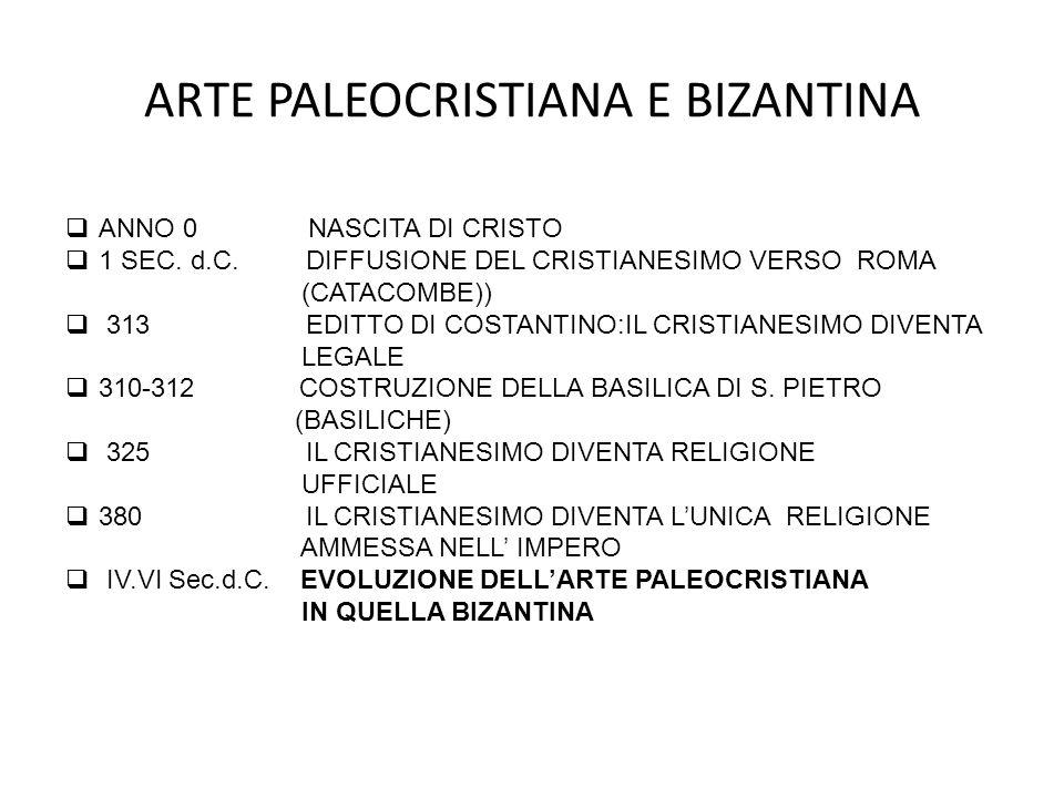 ARTE PALEOCRISTIANA E BIZANTINA Santa Costanza venne eretta attorno al 350 come mausoleo per la figlia di Costantino.