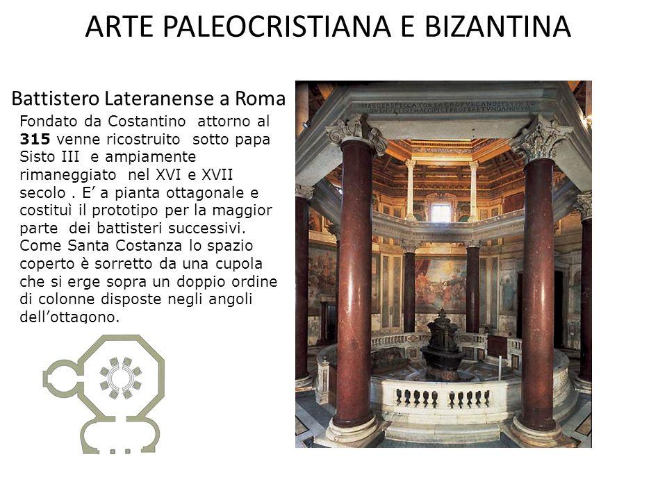 ARTE PALEOCRISTIANA E BIZANTINA La basilica si dice a croce greca quando i due bracci del transetto e la navata sono di uguale lunghezza. Questo tipo