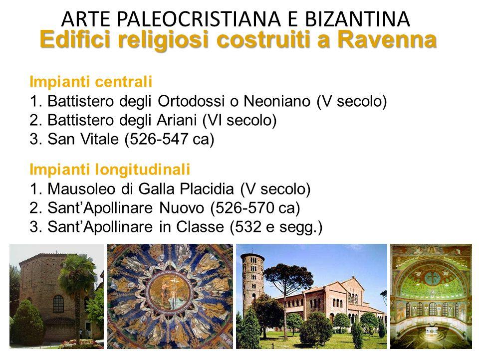 ARTE PALEOCRISTIANA E BIZANTINA Spazio architettonico Longitudinale (basiliche) Centrale (battisteri, mausolei, martyria) OccidenteOriente Architettur