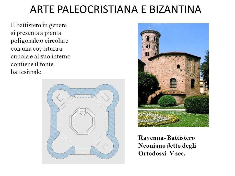 ARTE PALEOCRISTIANA E BIZANTINA Edifici religiosi costruiti a Ravenna Impianti centrali 1.Battistero degli Ortodossi o Neoniano (V secolo) 2.Battistero degli Ariani (VI secolo) 3.San Vitale (526-547 ca) Impianti longitudinali 1.Mausoleo di Galla Placidia (V secolo) 2.Sant'Apollinare Nuovo (526-570 ca) 3.Sant'Apollinare in Classe (532 e segg.)