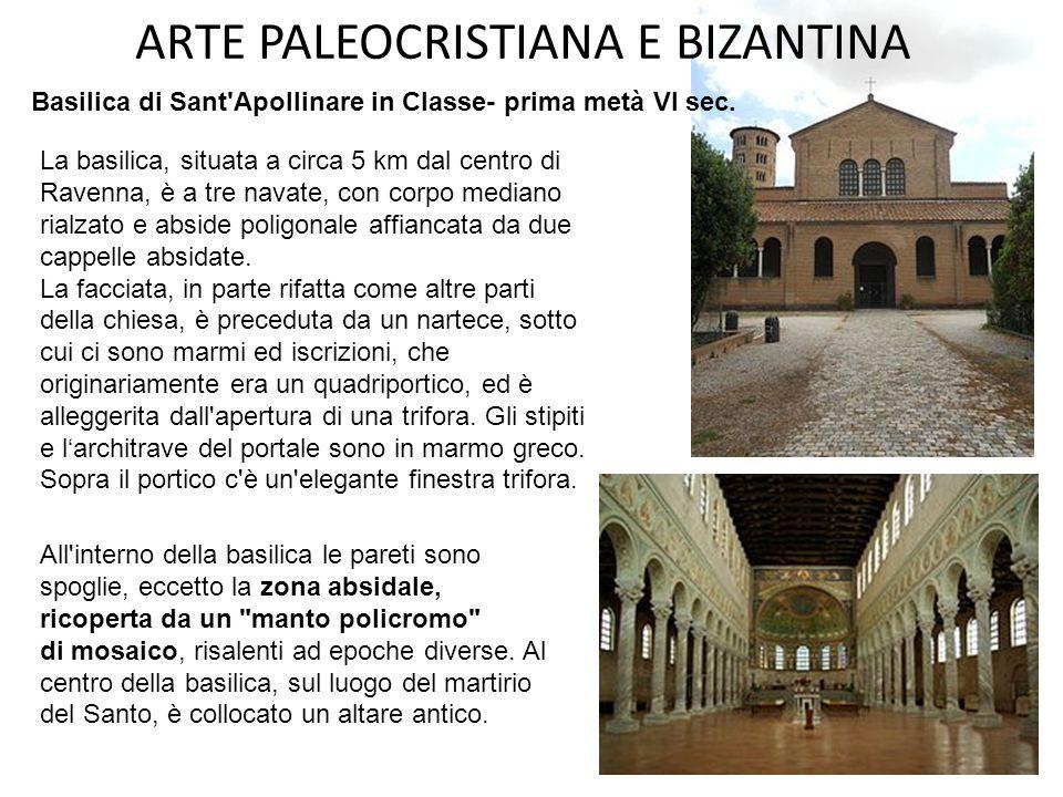 ARTE PALEOCRISTIANA E BIZANTINA Registro inferiore: processione di sante vergini e santi martiri (volute dall'arcivescovo Agnello nel 570) Registro in