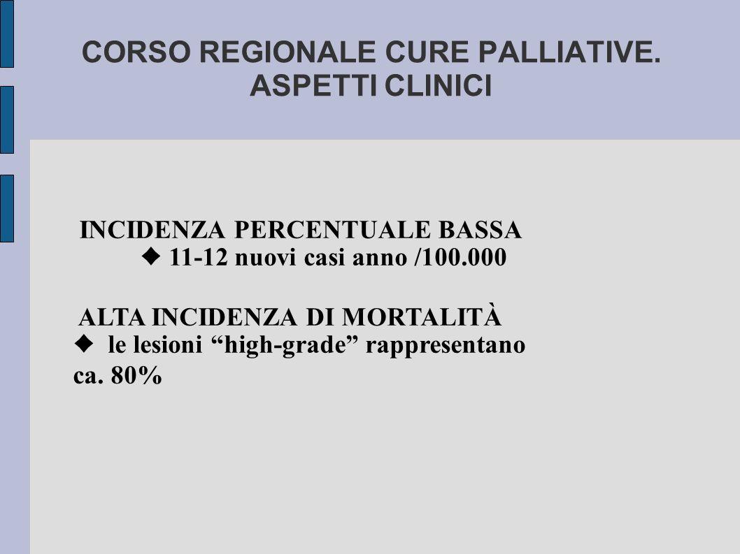 """INCIDENZA PERCENTUALE BASSA ♦ 11-12 nuovi casi anno /100.000 ALTA INCIDENZA DI MORTALITÀ ♦ le lesioni """"high-grade"""" rappresentano ca. 80%"""