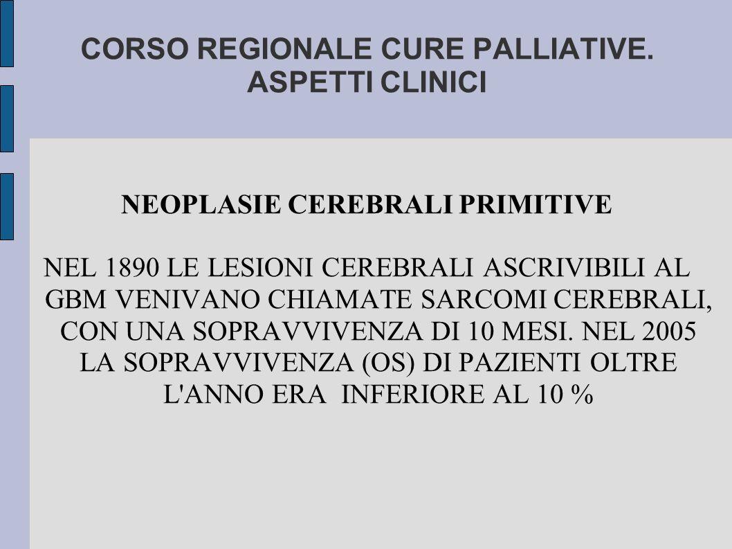 CORSO REGIONALE CURE PALLIATIVE. ASPETTI CLINICI NEOPLASIE CEREBRALI PRIMITIVE NEL 1890 LE LESIONI CEREBRALI ASCRIVIBILI AL GBM VENIVANO CHIAMATE SARC