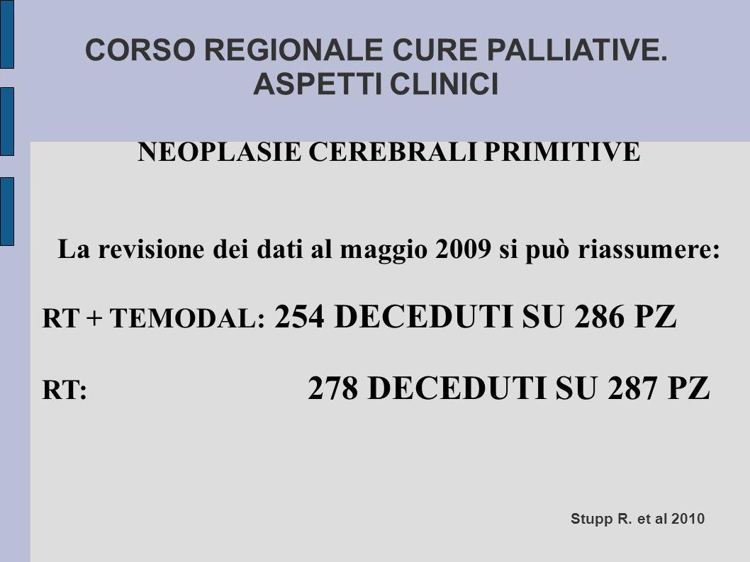 CORSO REGIONALE CURE PALLIATIVE. ASPETTI CLINICI NEOPLASIE CEREBRALI PRIMITIVE La revisione dei dati al maggio 2009 si può riassumere: RT + TEMODAL: 2