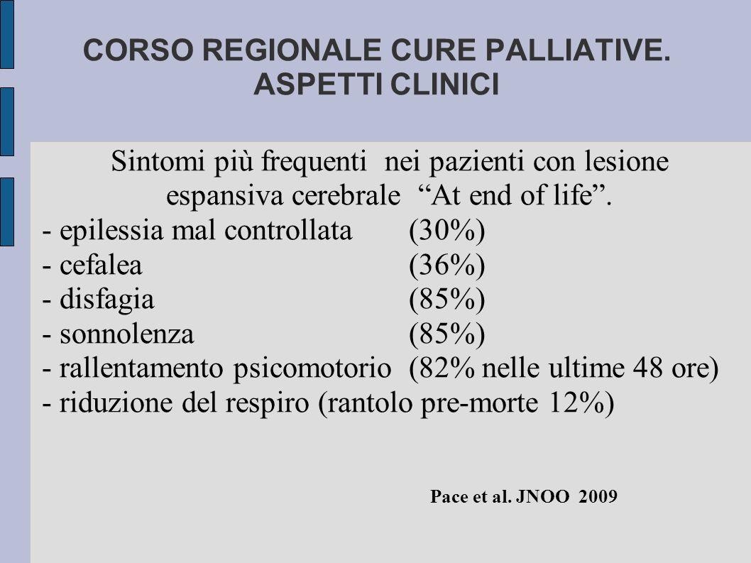 """CORSO REGIONALE CURE PALLIATIVE. ASPETTI CLINICI Sintomi più frequenti nei pazienti con lesione espansiva cerebrale """"At end of life"""". - epilessia mal"""