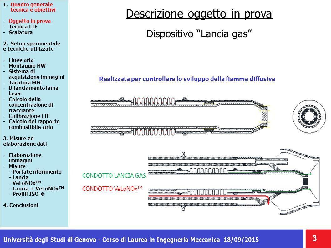 """Descrizione oggetto in prova Dispositivo """"Lancia gas"""" 3 CONDOTTO LANCIA GAS CONDOTTO VeLoNOx TM Realizzata per controllare lo sviluppo della fiamma di"""